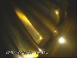 通过内窥镜看到的齿轮箱内部情况